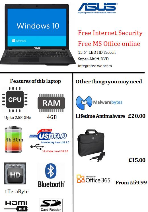 Asus Laptop details